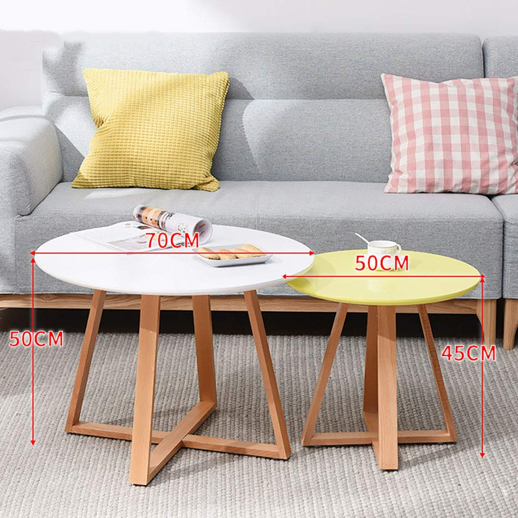 Garde Side Table, Simple Mini Bedroom Modern Home Small Coffee Table, Solid Wood Creative Leisure Negotiation Small Table (Two Sets) (Color : C) by Garde