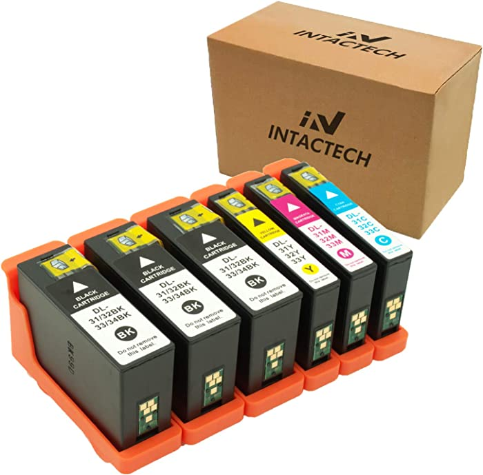 Intactech 6 Pack Compatible Dell Series 31 32 33 34 Ink Cartridges Work for Dell V525w V725w Printer (3 Black, 1 Cyan, 1 Magenta, 1 Yellow)