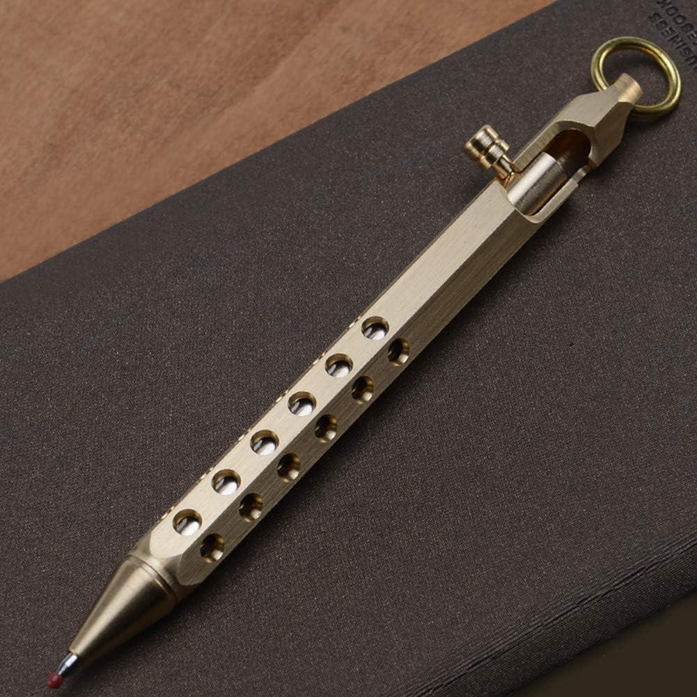 Alician Retro Hexagonal Brass Signature Pen for Office School Writing Brass Color Written pens