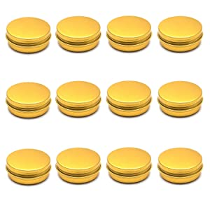 Karcy Metal Lip Balm Tin Containers with Lids Food Tins,1oz/30ml,Gold,Set of 12