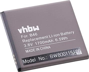 vhbw Litio polímero batería 1700mAh (3.8V) para móvil Smartphone teléfono BQ Aquaris E4: Amazon.es: Electrónica