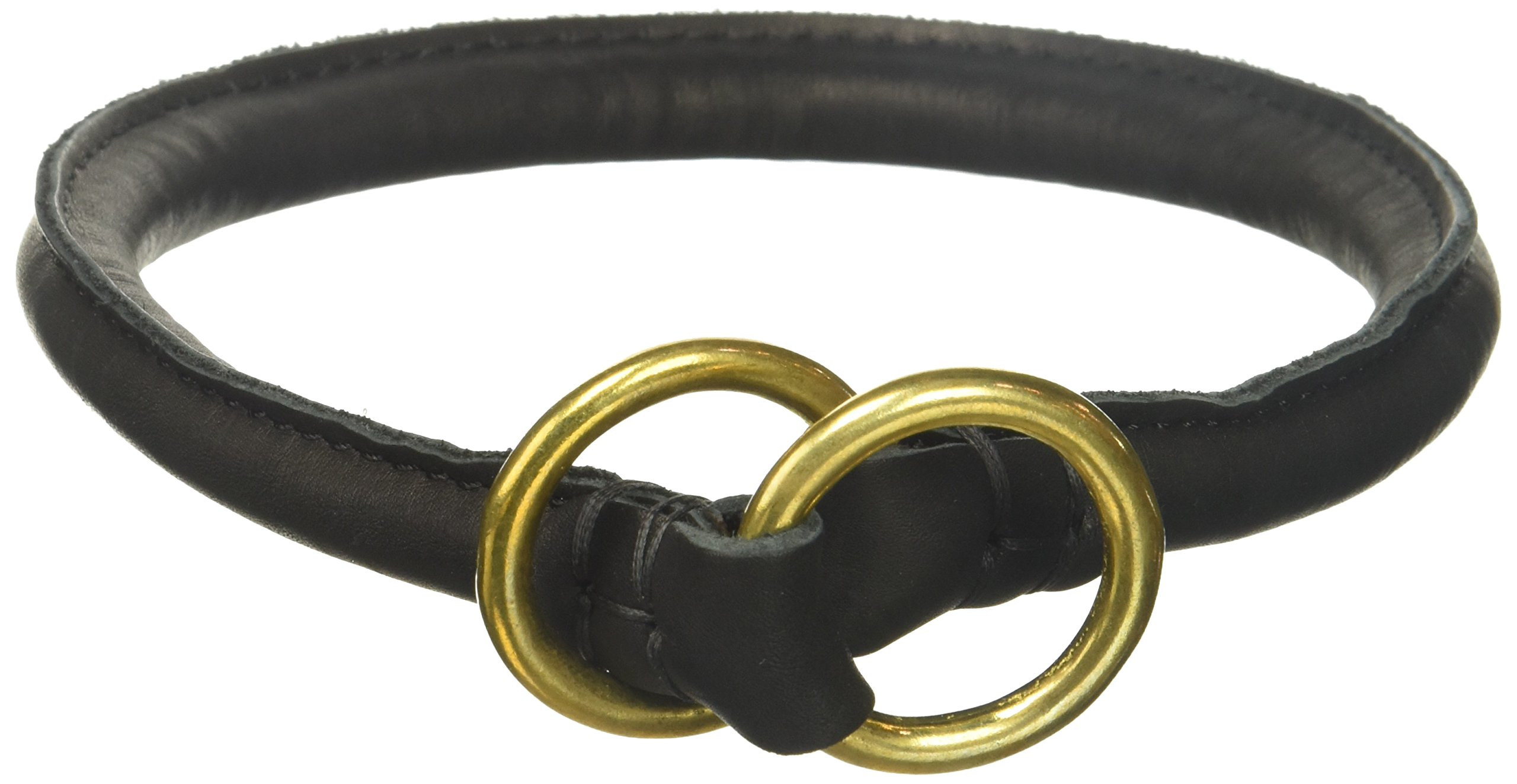 Dean and Tyler ''DESPERADO'', Rounded Dog Choke Collar with Brass Hardware - Black - Size 20-Inch by 1/2-Inch Diameter - Fits Neck 18-Inch to 20-Inch
