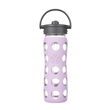 Lifefactory 15014 Botella de agua de 475 ml de vidrio, Sombrero de paja, lila