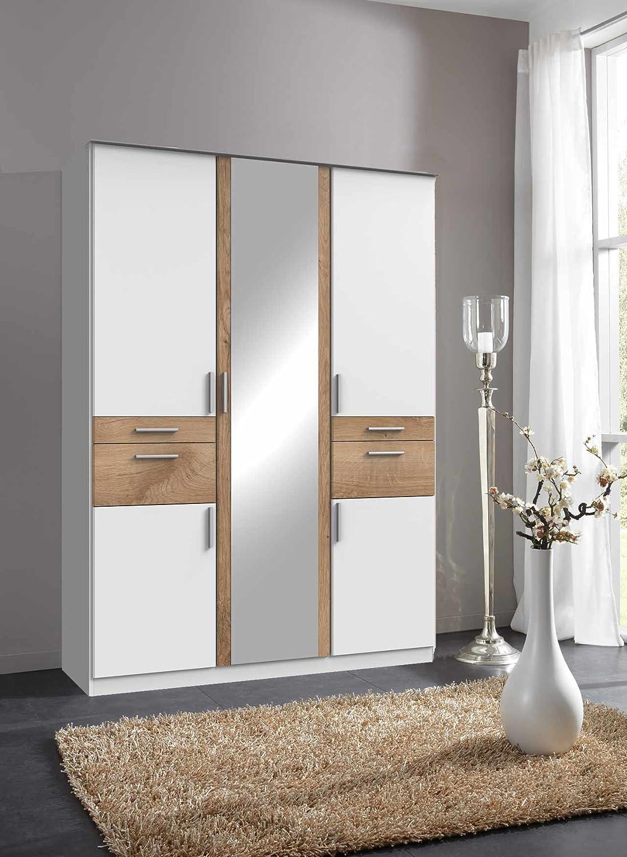 lifestyle4living Kleiderschrank 5-türig in weiß/Eiche mit Schubladen und Spiegel | Drehtührenschrank mit vielen Fächern ca. 135 cm