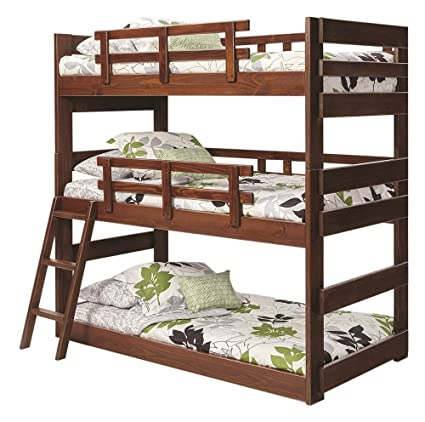 Amazon Com Twin Triple Bunk Bed In Chocolate Kitchen Dining