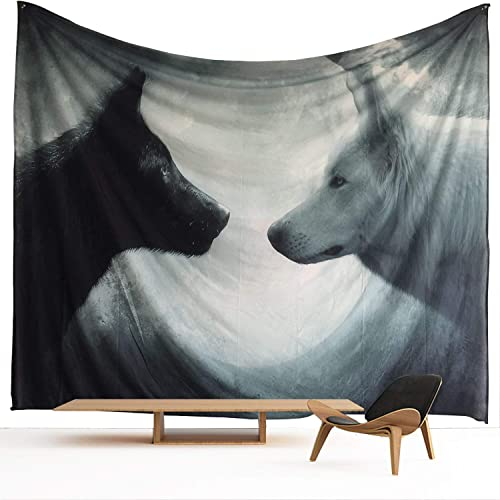 HWMR Howling Wolf Old Wall Decor Art Wolf Tapestry Wall Hanging Light-Weight Polyester Fabric Wall Collage Dorm Beach Bedroom Throw Tapestries 60 X 40