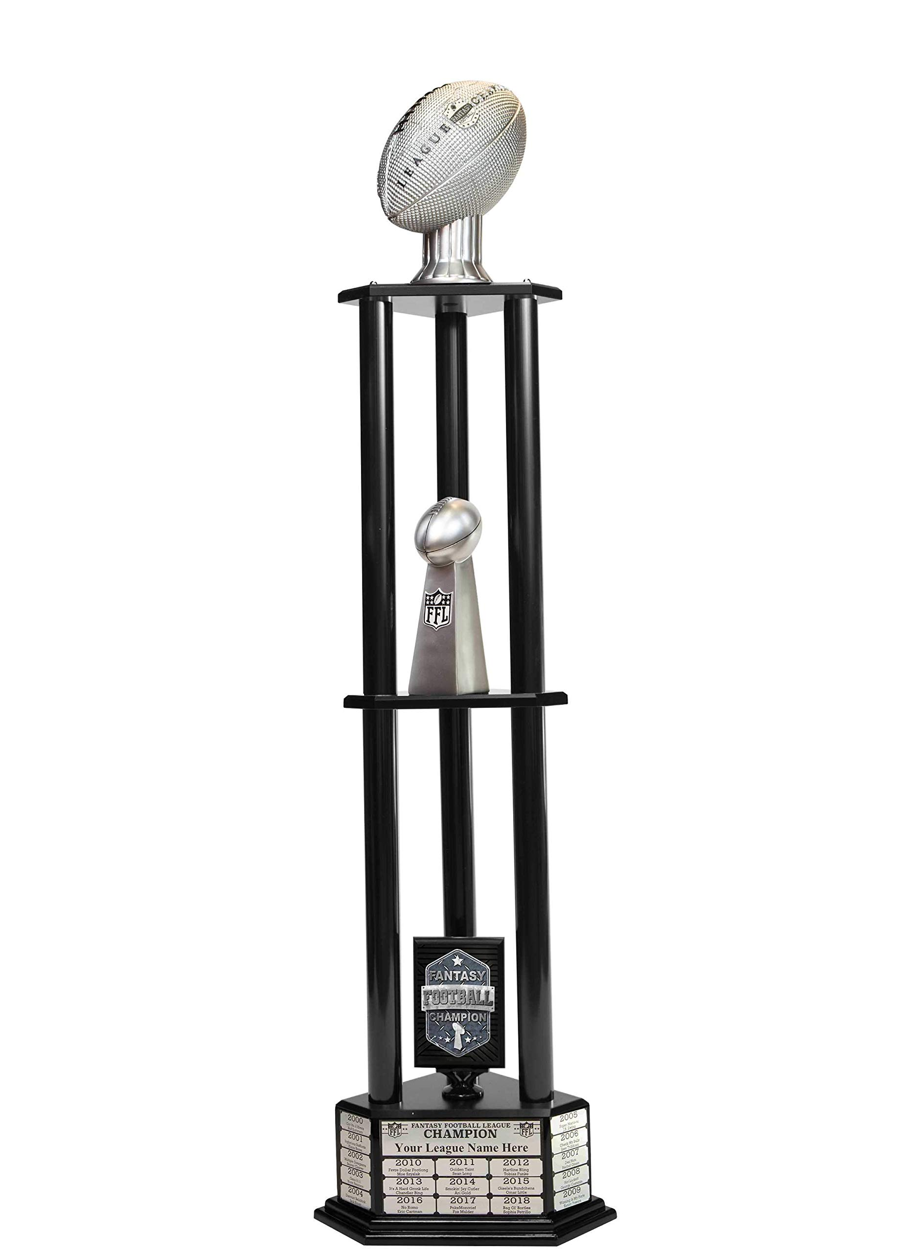 Customizable 56'' Fantasy Football Trophy with Free Engraving for up to 19 Years of Past Winners (Vivid Silver, Black Columns) by TrophySmack