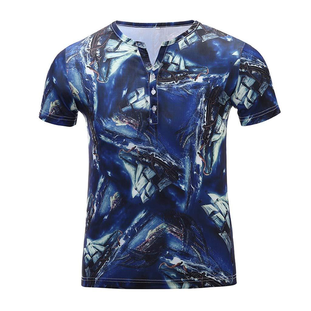 Men's Short-Sleeve Sueded Jersey V-Neck Pocket T-Shirt Blue by Donci T Shirt
