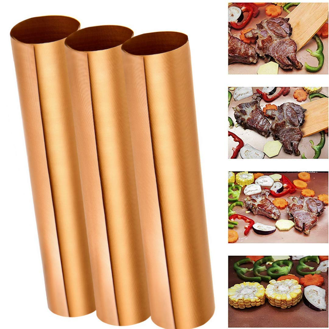 Best BBQ Grill Mat, Set of 3 Heavy Duty, Non-stick Grill Mat 16 x 13 inches, Gold Brown Colour. Reusable and Easy to Clean Barbecue by The Racheal Collections.