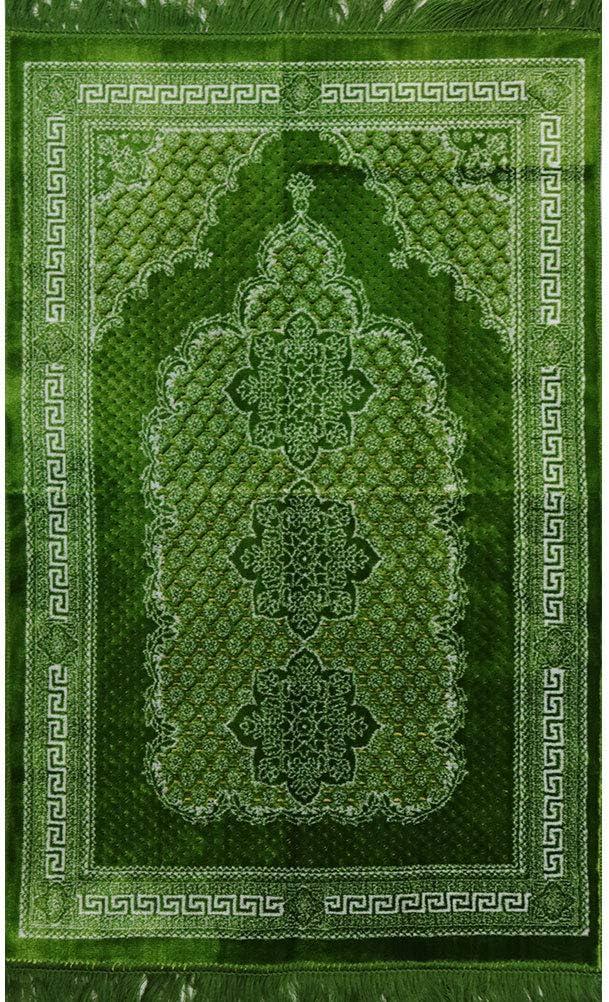 Modefa Soft Plush Velvet Prayer Rug Turkish Janamaz Sajadah Carpet Geometric Floral Ipek (Bright Green)