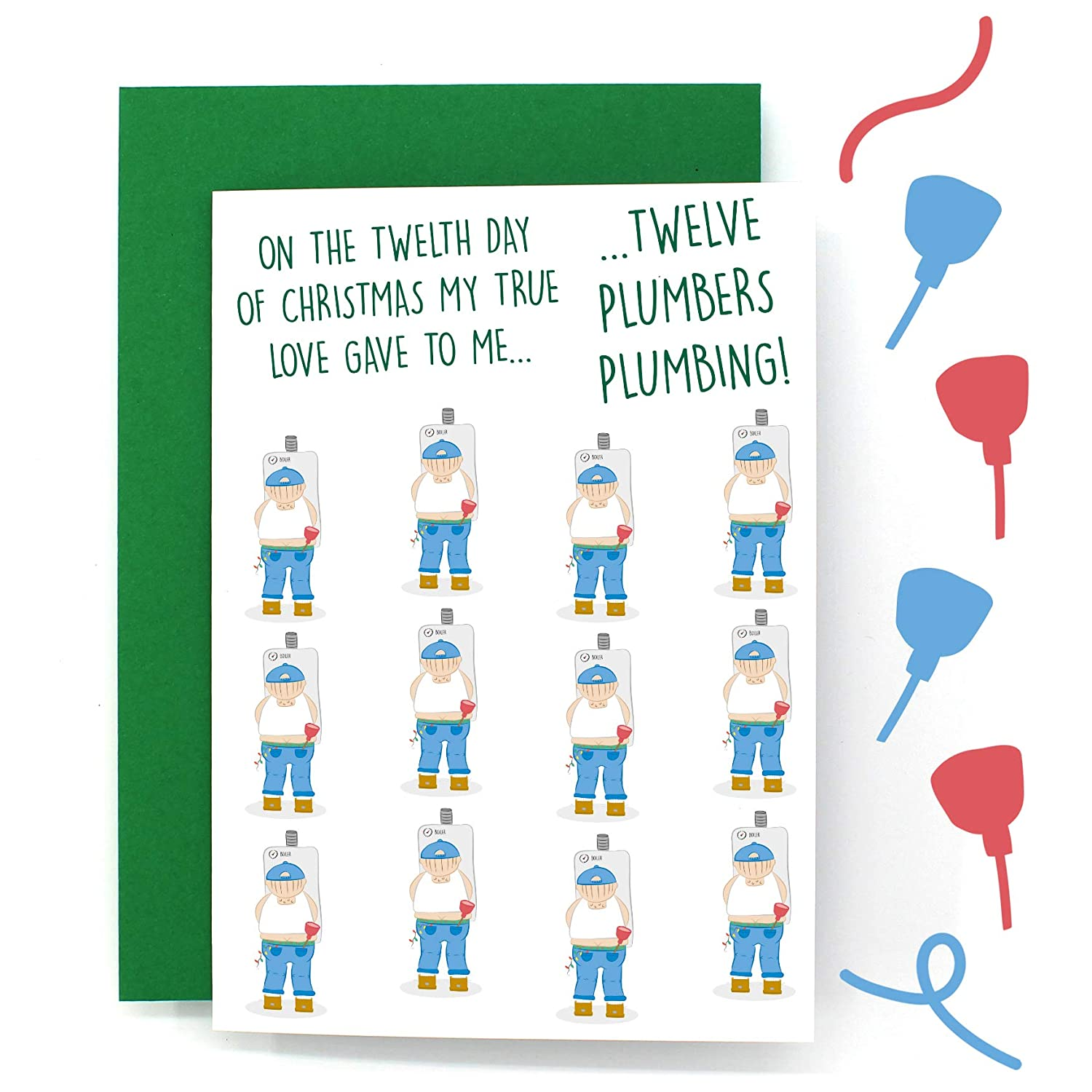 On The 12th Day Of Christmas.12 Days Of Christmas Card Twelve Drummers Drumming