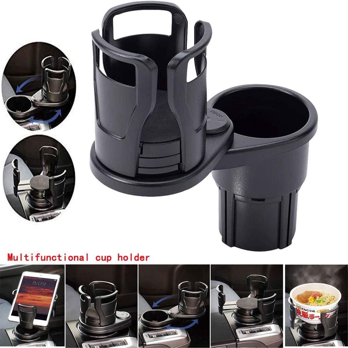 Jinger Multifunctional car Cup Holder Extender, car Beverage Cup Holder Size Adjustable Water Cup Holder with 360°Rotating Adjustable Base, can Hold Coffee, Beverage Bottles (car Cup Holder Extender)