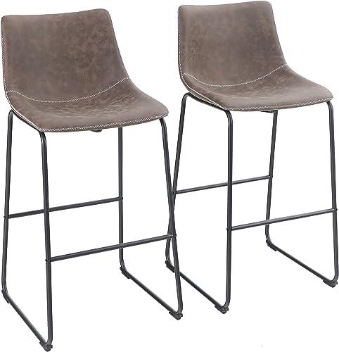 "Sophia William Bar Stool 30"" Set of 2 Kitchen Bar Chairs Metal Bar Height"