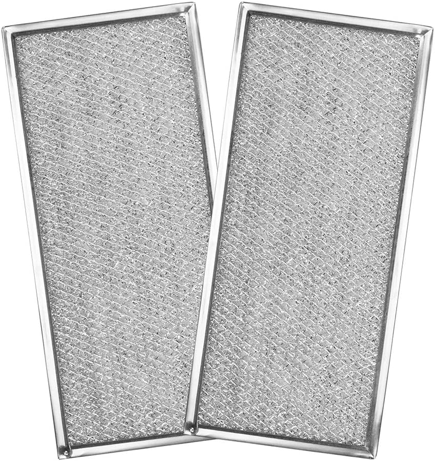 """W10208631A Grease Filter for Whirlpool Microwave - Replacement Filter Aluminum Mesh for Whirlpool/Maytag/KitchenAid Microwave Oven 13"""" x 5-3/4"""" x 1/16"""" Microwave Range Hood Filter 2 Pack"""