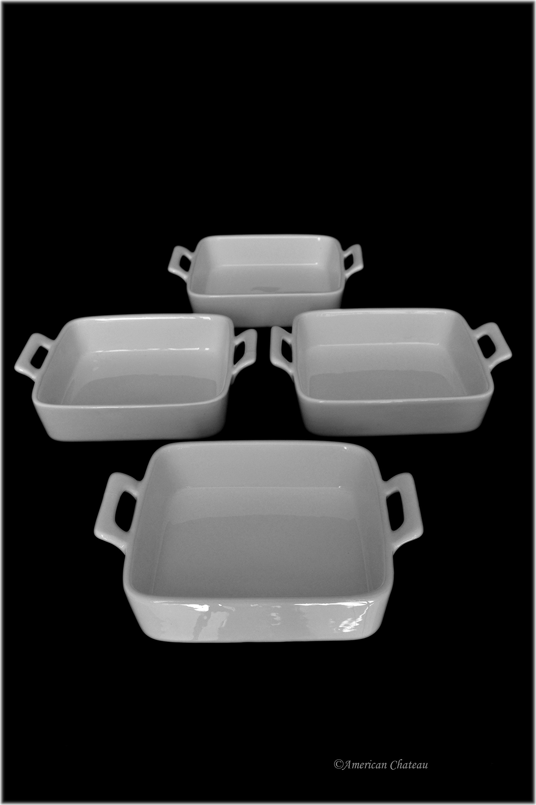 Set 4 Square Oven-Safe White Porcelain Casserole Au Gratin Dishes with Handles