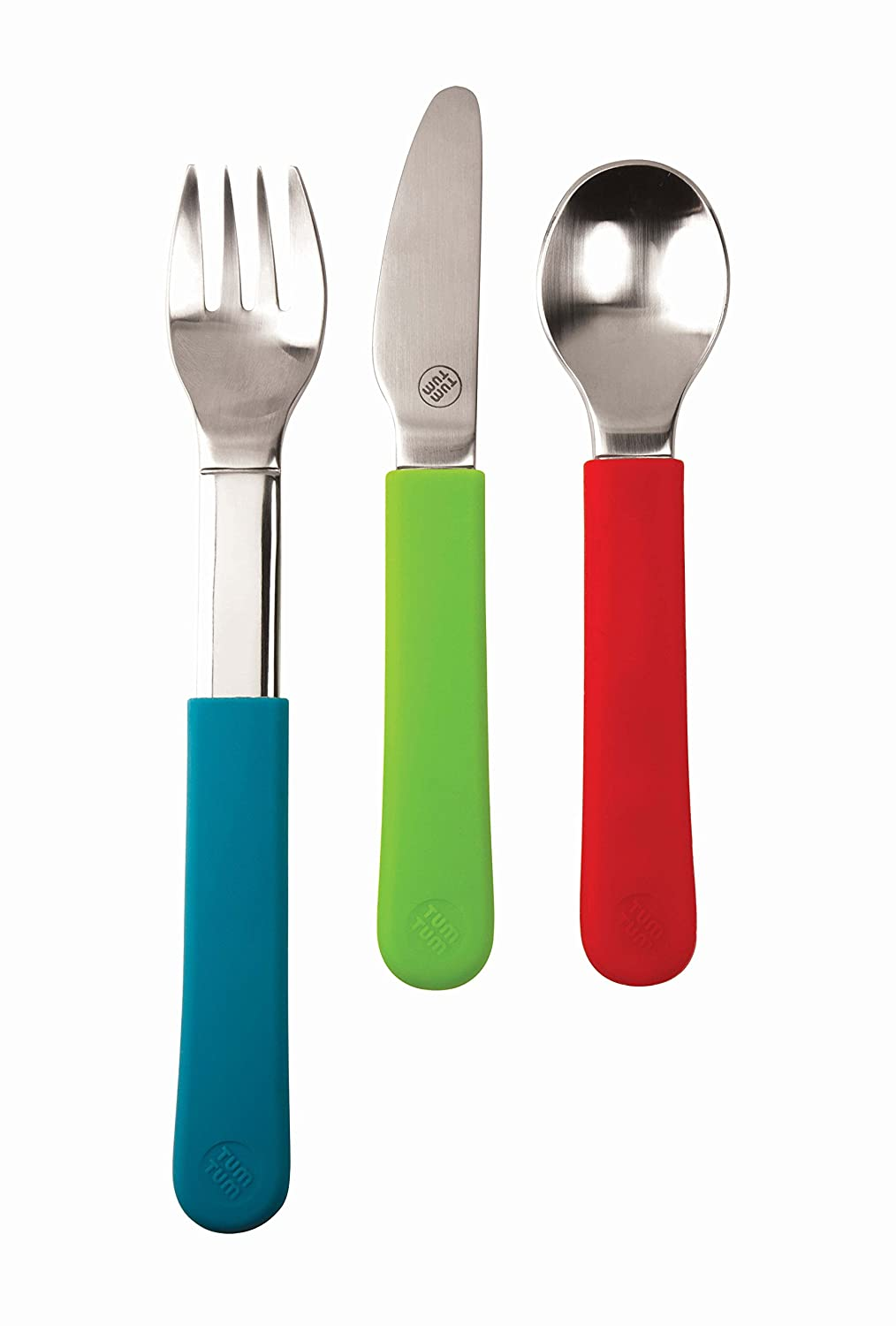 TUM TUM Trainee Stainless Steel Childrens Cutlery Set with Removable Grippy Sleeves