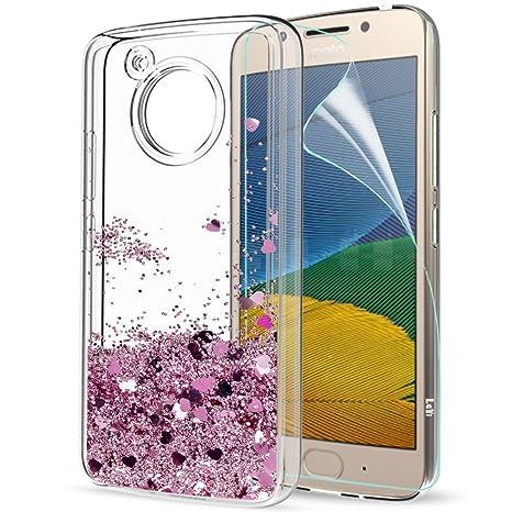LeYi Funda Motorola Moto G5 Silicona Purpurina Carcasa con HD Protectores de Pantalla, Transparente Cristal Bumper Telefono Fundas Case Cover para ...