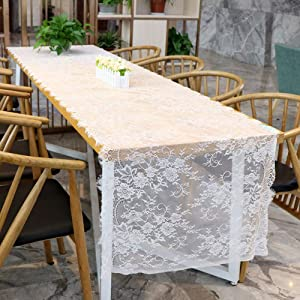 HOLY HOME Pastoral 3 D Floral Lace Table Runner Wedding Reception Table DIY Décor Rose Flower Embroidery White Chic Bridal Shower & Baby Baptism Party 30