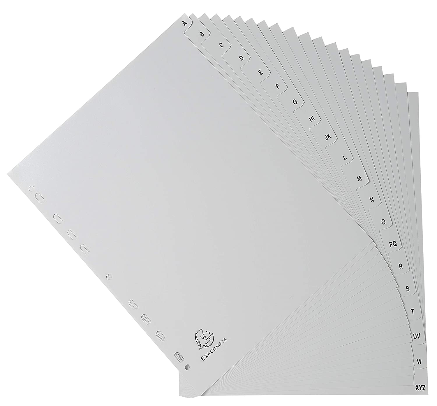26 Part Exacompta PP Printed Indices A4 - Grey A-Z