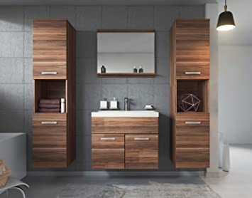 Badezimmer Badmöbel Set Montreal 02 60cm Waschbecken Sonoma Eiche    Unterschrank Waschtisch Spiegel Möbel Badplaats