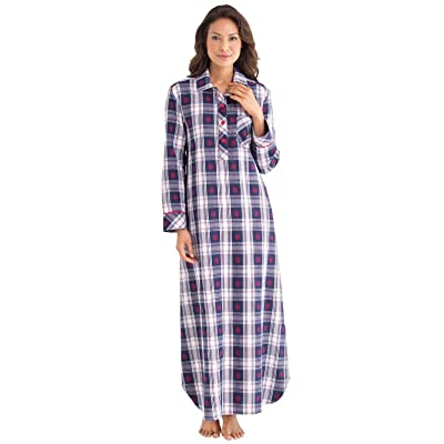 PajamaGram Women's Classic Snowfall Plaid Cotton Nightgown, Blue