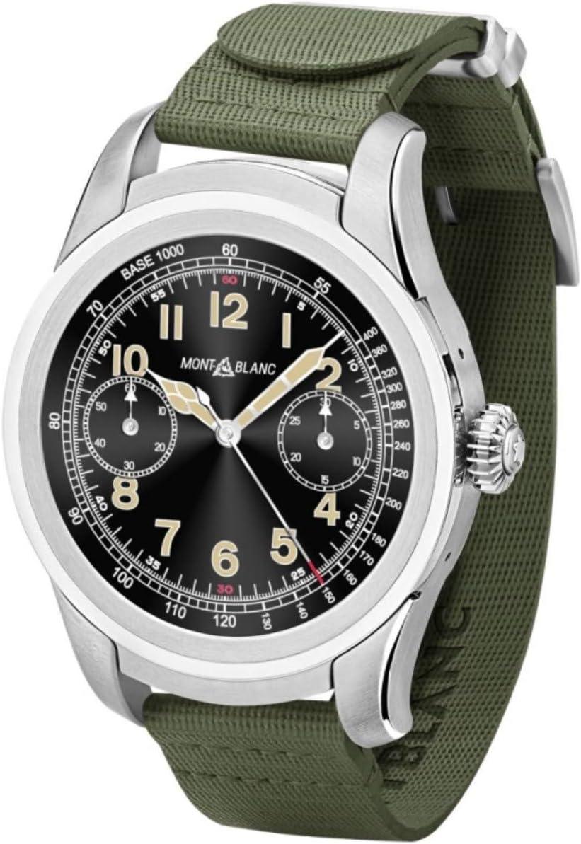 MontBlanc Summit - Reloj inteligente, 46 mm, acero inoxidable, correa de goma, color verde