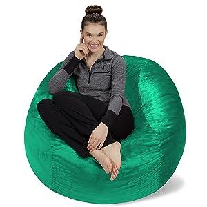 Sofa Sack - Plush, Ultra Soft Bean Bag Chair - Memory Foam Bean Bag Chair with Microsuede Cover - Stuffed Foam Filled Furniture and Accessories for Dorm Room - Aqua Marine 4'