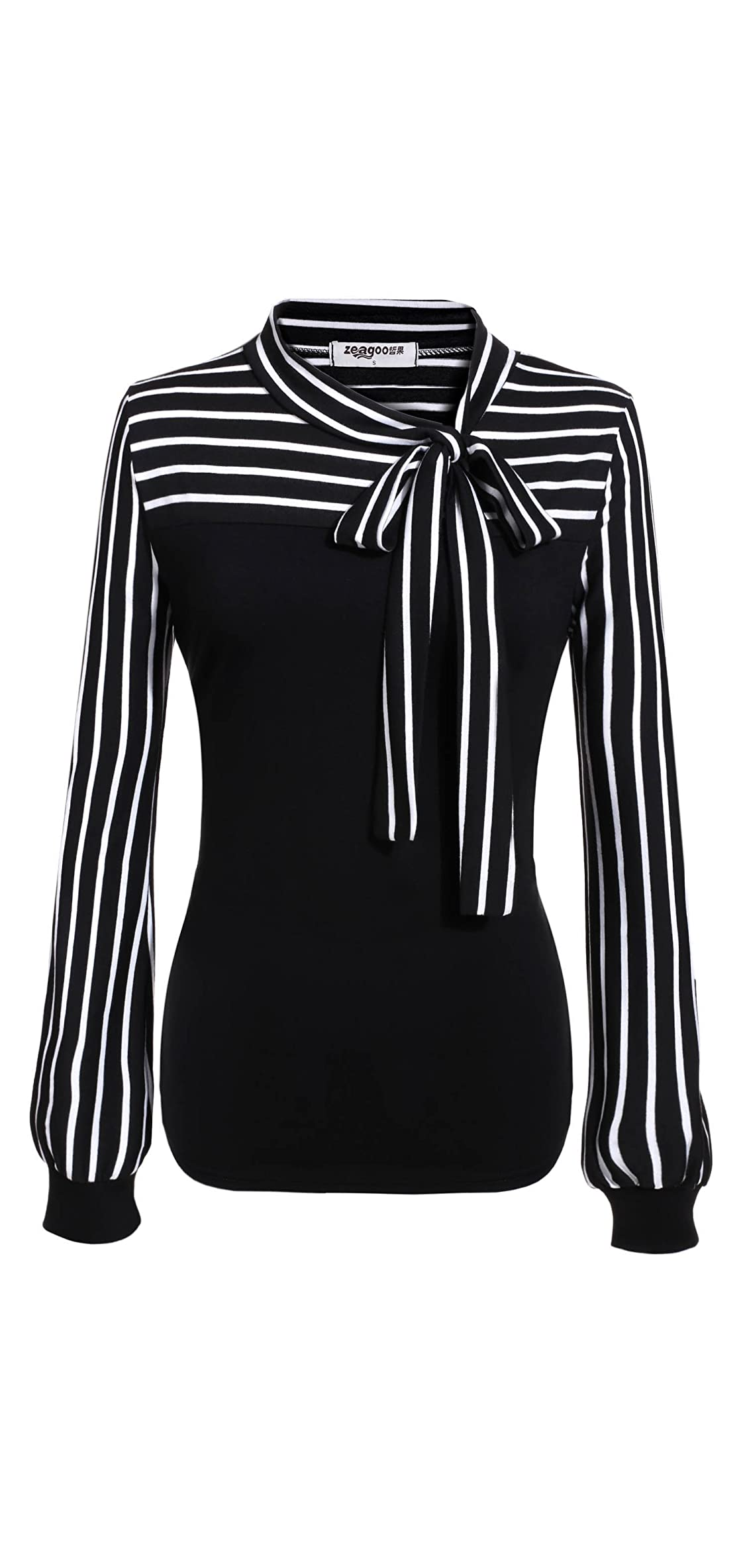 Women's Tie-bow Neck Striped Blouse Long Sleeve Shirt Office