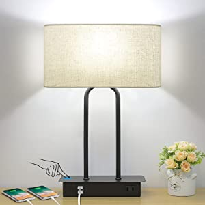 Bedside Touch Control Table Lamp with Dual USB Charging Ports 1 AC Outlet, 3 Way Dimmable Modern Nightstand Lamp with Cream Fabric Shade, Desk Lamp for Bedroom Living Room Office with 5000K LED Bulb