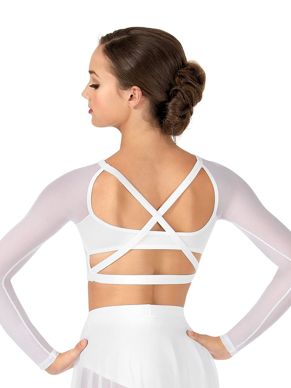 Body Wrappers Adult Long Sleeve X-Back Dance Crop Top, NL9020