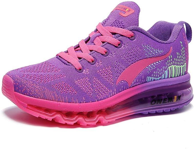 ONEMIX Zapatillas de Running para Mujer, Calzado Deportivo con Cojines de Aire Gimnasia Correr Sneakers W1118 Purple Red 35: Amazon.es: Zapatos y complementos