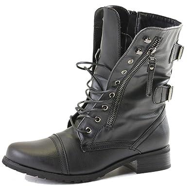 bf9cc32c9e2 shoeFashionista - Bottes à lacets Femme Militaire Vintage Chaussures Plates  Bottines Lacets Taille