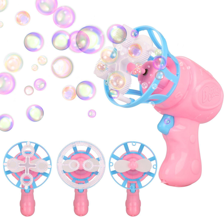 Funxim Burbuja Pistola, Verano Juguete Burbuja Pistola Juguete Tirador Mini Ventilador Bubble Brower Resistente a Fugas Bubble Blaster con Jabón Solución y Triple y Anillos Quad para Niños: Amazon.es: Juguetes y juegos