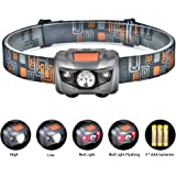 Linkax Lampe Frontale LED Puissante Torche Frontale Lampe Phare 4 modes pour course camping randonnée Chasse pêche 3 Piles AAA Inclus