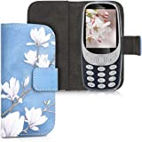kwmobile Wallet Case for Nokia 3310 3G 2017 / 4G 2018 - PU Leather Protective Flip Cover with Card Slots and Stand - Taupe/White/Blue Grey