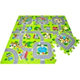 Leo & Emma Road Rally Play Foam Floor Tiles For Kids - Interlocking Foam Mats - Soft Alternative To Race Track Rug - Set of 9 Large 32 x 32 cm Pieces - Perfect Hot Wheels Mat Or Other Toy Cars