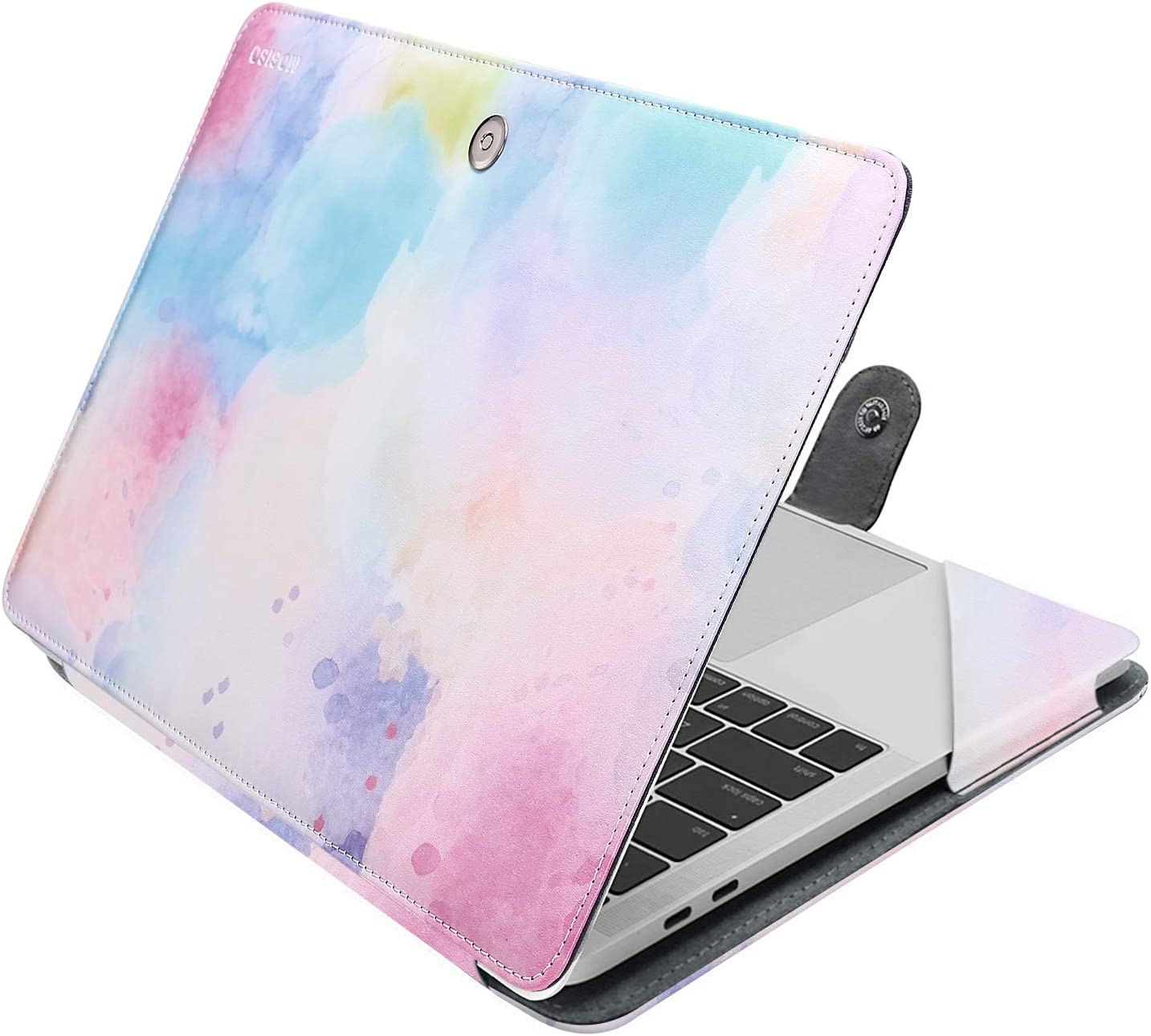 MOSISO Case Compatible with 2020-2018 MacBook Air 13 A2179 A1932 /2020-2016 MacBook Pro 13 A2251/A2289/A2159/A1989/A1706/A1708, PU Leather Folio Protective Laptop Cover Sleeve, Colorful Clouds