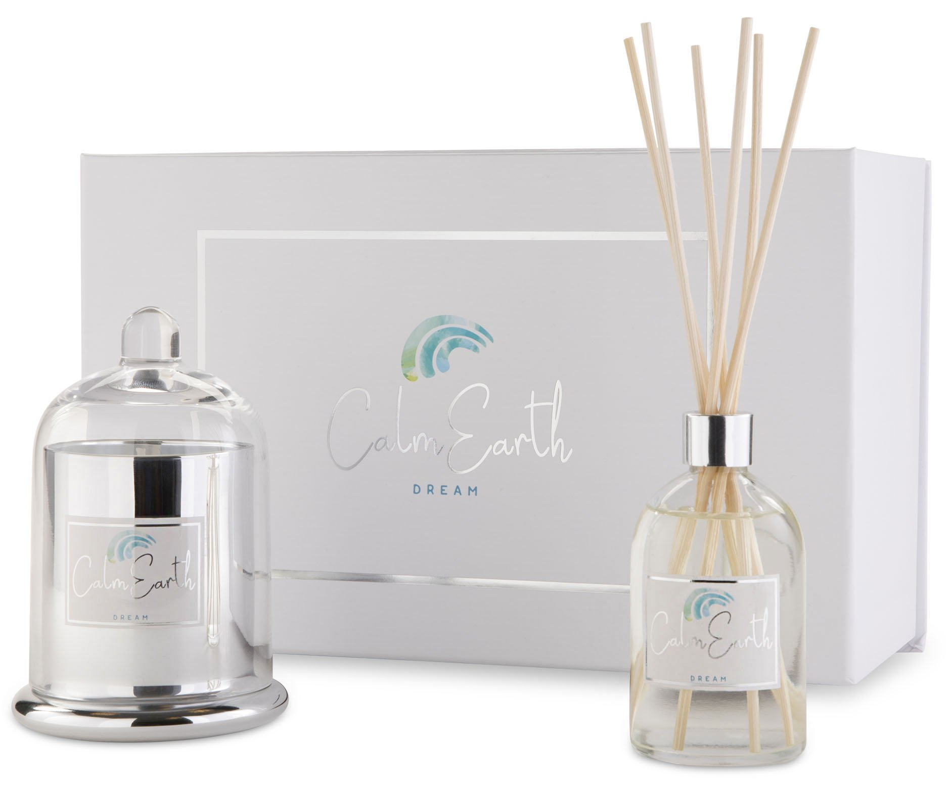 Aromatherapy Candle and Reed Diffuser Set | Scented Soy Candles and  Diffuser Oil Sets With Hints of Vanilla and Sandalwood | Natural Elegant Candle Set Dream by Calm Earth