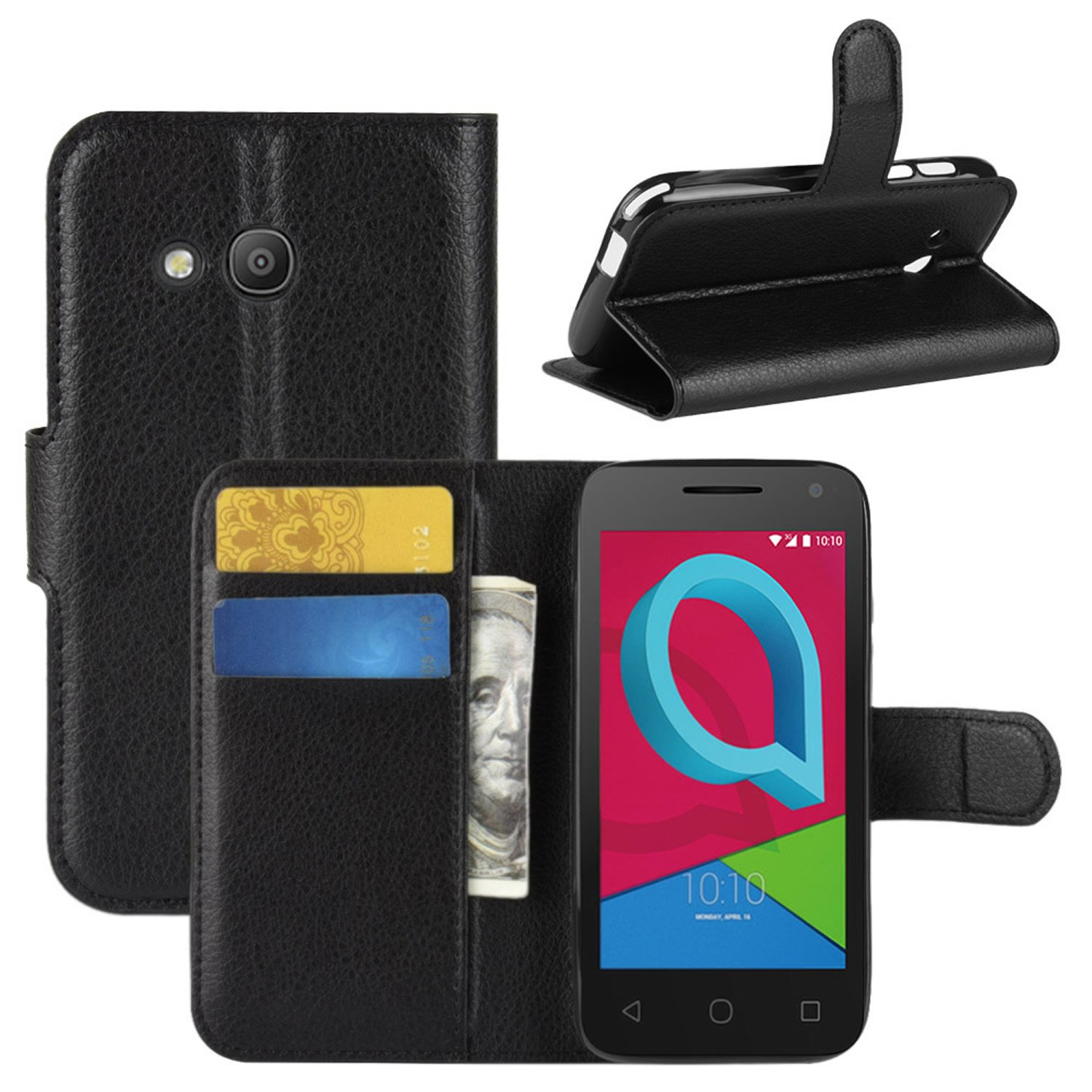 HualuBro Alcatel U3 3G Case, Premium PU Leather Wallet Flip Phone Protective Case Cover with Card Slots for Alcatel U3 3G Smartphone (Black)