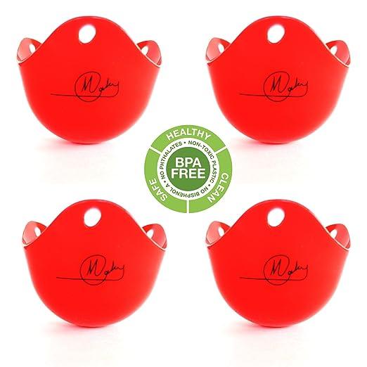 Recipiente para escalfar huevos (4 tazas), color rojo -bpa-free ...