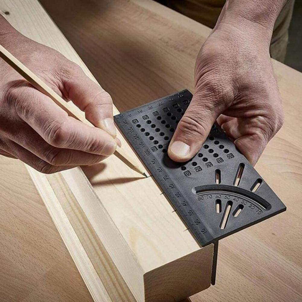 Pipes Gravere Woodworking Square Size Measure Ruler with Carpenter Pen,Woodworking 3D Mitre Angle Measuring Tool for Measuring Timber