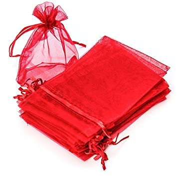 RUBY - 50 Piezas Bolsas de Organza para Fiesta de Boda / 10cm x 15cm / Saquitos/Bolsitas Regalo Joyeria Envio Desde ESPAÑA (Rojo)