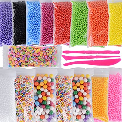 (50000pcs)15 pack Bolas de Espuma para Limo Slime Perlas de Poliestireno Colores +