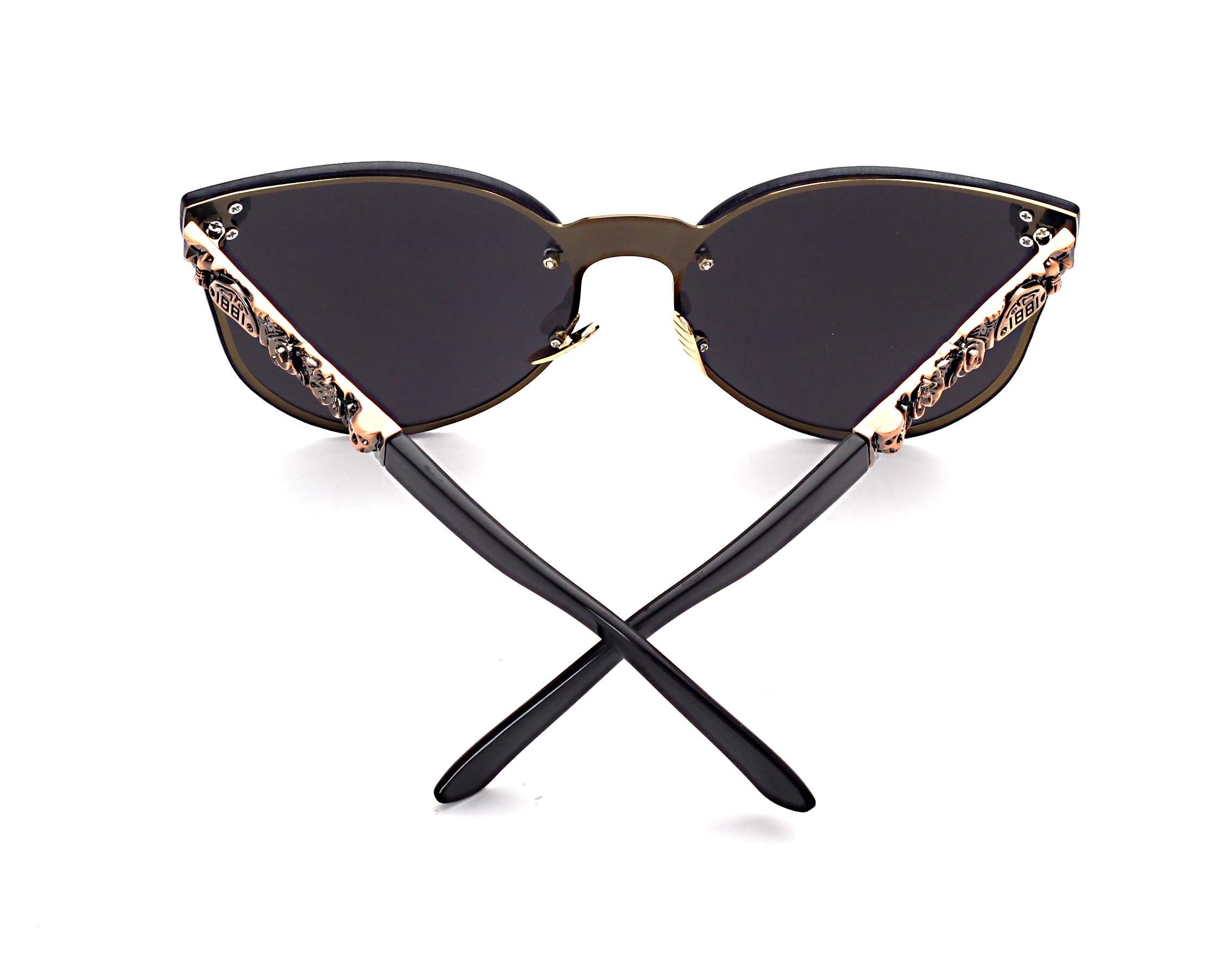 Women's Metal Half Frame Semi-Rimless Cateye Skull Studded Sunglasses - UV400 by Pession (Image #3)