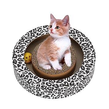 Aolvo - Rascador de gatos de cartón, forma redonda, juguete turbo raspador, cartón