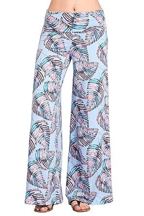89be1dd1d2399 HEYHUN Womens Tie Dye Solid Wide Leg Bottom Boho Hippie Lounge Palazzo Pants  - Aqua Multi