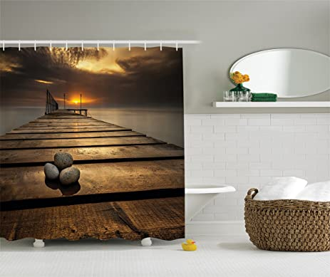 Scenic Shower Curtain Wooden Bridge Decor By Ambesonne, Black Sea At Dusk  Sunrise And Tranquil