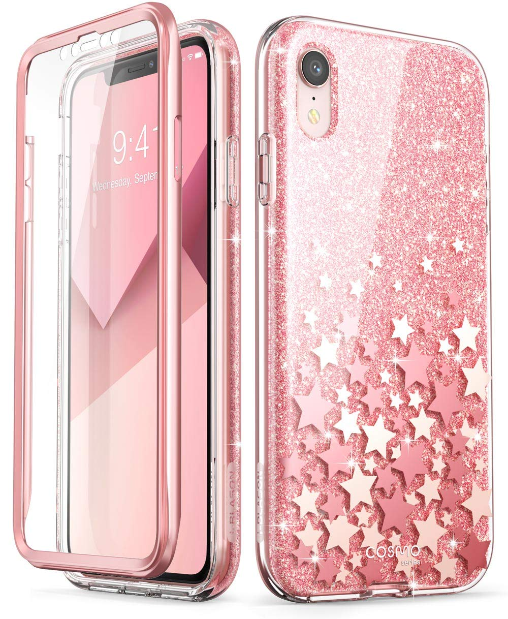 iPhone XR Case, [Built-in Screen Protector] i-Blason [Cosmo] Full-Body Glitter Bumper Case for iPhone XR 6.1 Inch 2018 Release (Pink) i-Blason inc iPhoneXR-6.1-Cosmo-SP-Pink