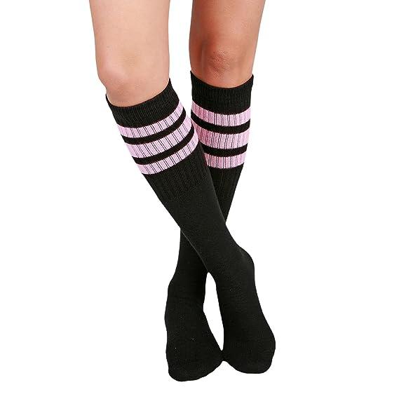 Skatersocks 22 Inch Tube Socken Strümpfe Unisex Hi weiß schwarz gestreift
