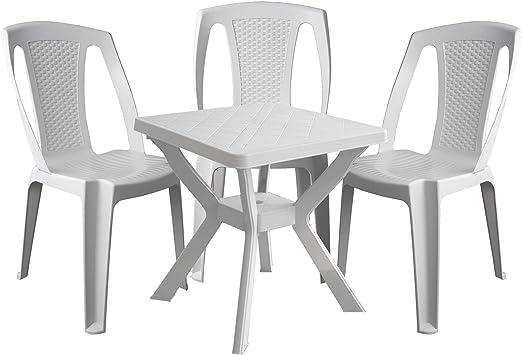 4 piezas. Balcón Muebles de Jardín Mesa plástico 70 x 70 cm + 3 x ...